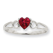 14K White Gold June Ruby Birthstone Ring