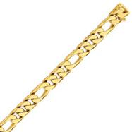 14K Gold 11mm Hand Polished Figaro Link Bracelet
