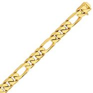 14K Gold 13mm Hand Polished Figaro Link Bracelet