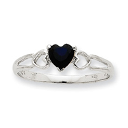14K White Gold September Sapphire Birthstone Ring