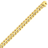 14K Gold 10mm Hand Polished Traditional Link Bracelet