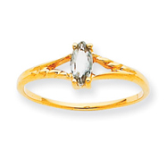 14K Gold April White Topaz Birthstone Ring
