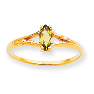14K Gold August Peridot Birthstone Ring