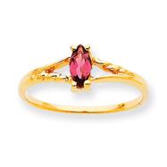 14K Gold October Pink Tourmaline Birthstone Ring