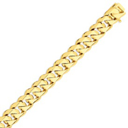 14K Gold 14mm Hand Polished Traditional Link Bracelet