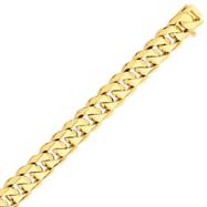 14K Gold 14mm Hand Polished Traditional Link Bracelet
