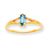 14K Gold December Blue Topaz Birthstone Ring