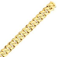 14K Gold 16mm Hand Polished Traditional Link Bracelet