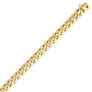 14K Gold 8.75mm Hand Polished Rounded Curb Bracelet