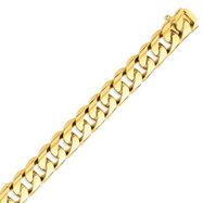 14K Gold 13mm Hand Polished Rounded Curb Bracelet