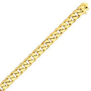 14K Gold 9.8mm Hand Polished Flat Beveled Curb Bracelet