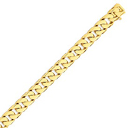 14K Gold 11.2mm Hand Polished Flat Beveled Curb Bracelet