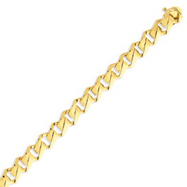14K Gold 10mm Hand Polished Fancy Link Bracelet
