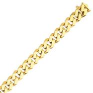 14K Gold 12mm Hand Polished Fancy Link Bracelet