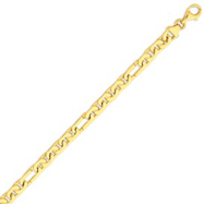 14K Gold 6mm Hand Polished Fancy Link Bracelet