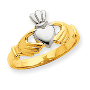 14K Gold & Rhodium Polished Claddagh Ring