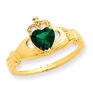 14K Gold Green Cubic Zirconia Polished Claddagh Ring