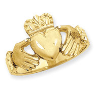 14K Gold Diamond Cut Claddagh Ring