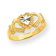 14K Gold & Rhodium Diamond-Cut Polished Claddagh Ring