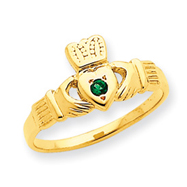 14K Gold Green Cubic Zirconia Claddagh Ring