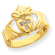 14K Gold AA Diamond Claddagh Ring