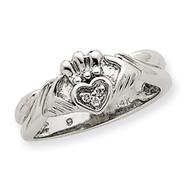 14k White Gold AA Diamond Claddagh Ring