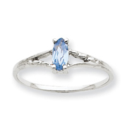 14K White Gold March Aquamarine Birthstone Ring