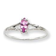 14K White Gold October Pink Tourmaline Birthstone Ring