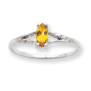 14K White Gold November Citrine Birthstone Ring