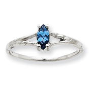 14K White Gold December Blue Topaz Birthstone Ring