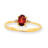 14K Gold Diamond & Garnet January Birthstone Ring