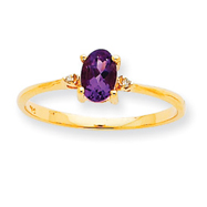 14K Gold Diamond & Amethyst February Birthstone Ring