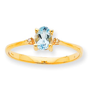 14K Gold Diamond & Aquamarine March Birthstone Ring