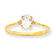 14K Gold Diamond & White Topaz April Birthstone Ring