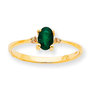 14K Gold Diamond & Emerald May Birthstone Ring