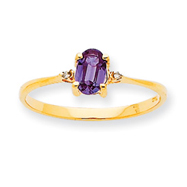14K Gold Diamond & Rhodolite Garnet June Birthstone Ring