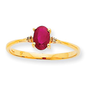 14K Gold Diamond & Ruby July Birthstone Ring
