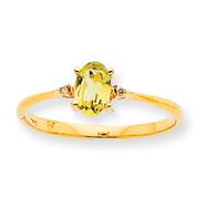 14K Gold Diamond & Peridot August Birthstone Ring