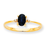 14K Gold Diamond & Sapphire September Birthstone Ring