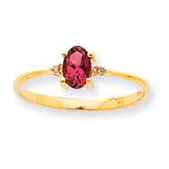 14K Gold Diamond & Pink Tourmaline October Birthstone Ring