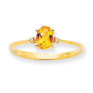 14K Gold Diamond & Citrine November Birthstone Ring