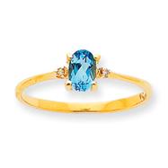 14K Gold Diamond & Blue Topaz December Birthstone Ring