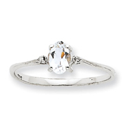 14K White Gold Diamond & White Topaz April Birthstone Ring