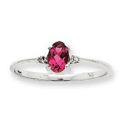 14K White Gold Diamond & Pink Tourmaline October Birthstone Ring