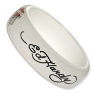 Ed Hardy White Slip-on Acrylic 8.25in Bangle