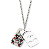 Ed Hardy Death & Glory 2-piece Dog Tag Painted 24in Necklace