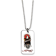 Ed Hardy Eagle & Skull Dog Tag Painted 24in Necklace