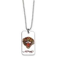 Ed Hardy Roaring Tiger Dog Tag Painted 24in Necklace