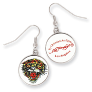 Ed Hardy Roaring Tiger Painted Earrings
