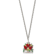 Ed Hardy Triple Heart Love Painted 24in Necklace